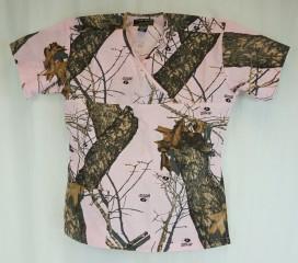 New Mossy Oak Breakup Camo Scrubs Top - Pink Mossy Oak® Break-Up Nursing