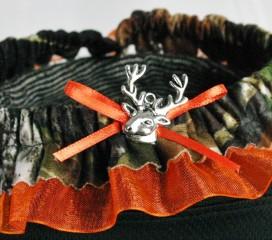 The Formal Sportsman Garter: Mossy Oak ® Break Up , Blaze Orange Trim & Buck Charm