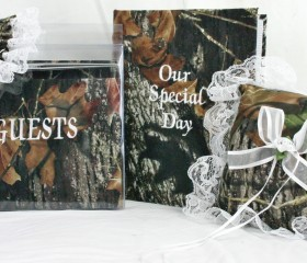 New Mossy Oak Breakup Wedding Set white lace includes: Ring Bearer Pillow, Guest Book, Garter and Photo Album