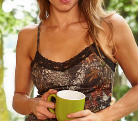 Wilderness Dreams Naked North Pink with Black Lace-Trimmed Camisole