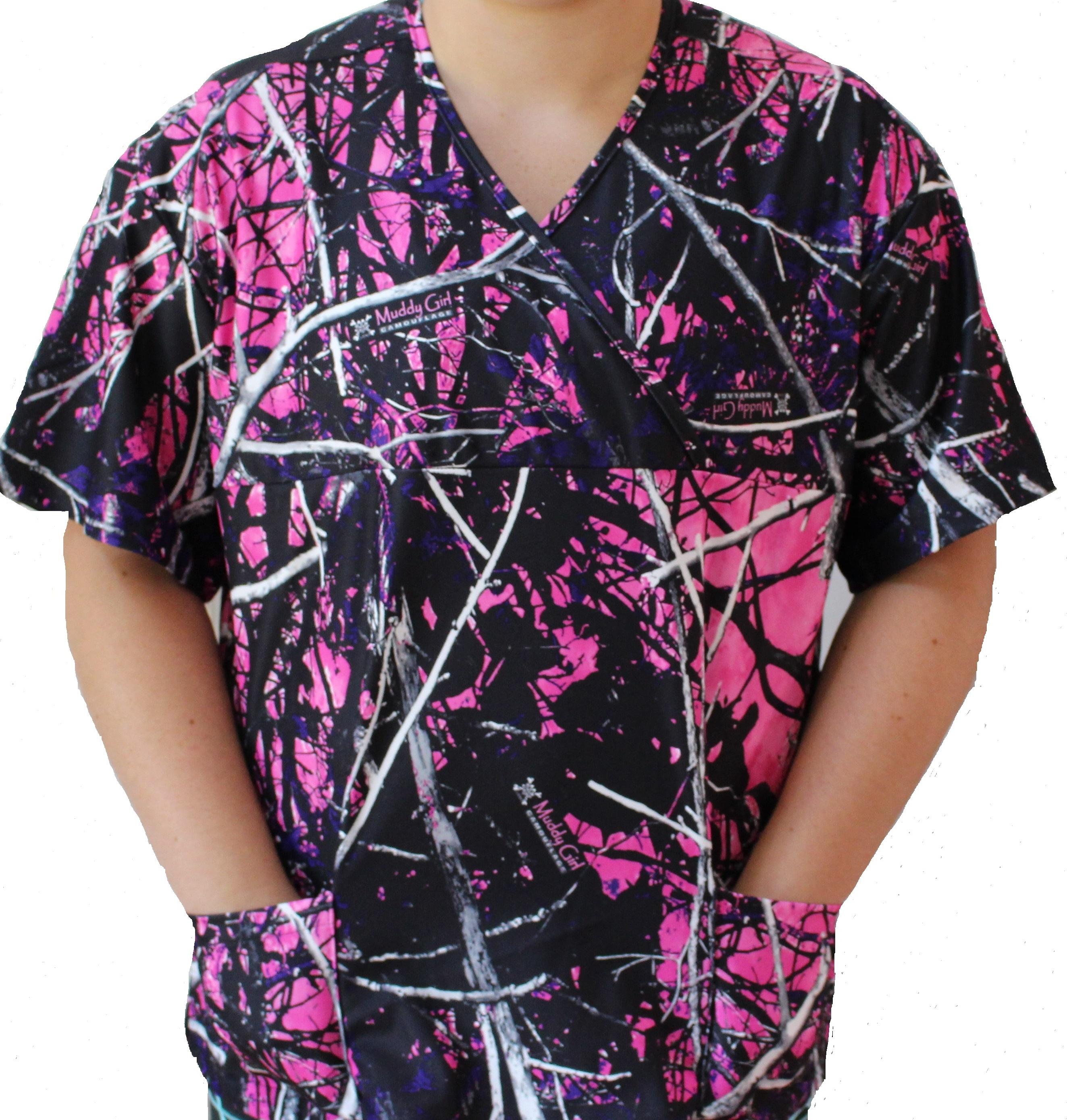 c16de9a0860 Muddy Girl Camo Scrub Top pink purple white nursing topThe Formal ...